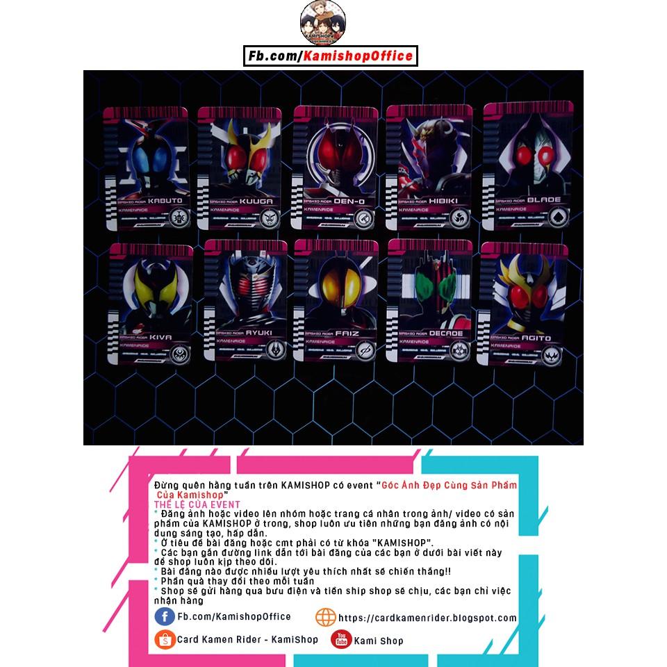Thẻ Kamen Rider FAIZ, AGITO,HIBIKI,KABUTO,DECADE,KUUGA,KIVA,BLADE,RYUKI,DEN-O - Thẻ bài kamen rider Kamishop