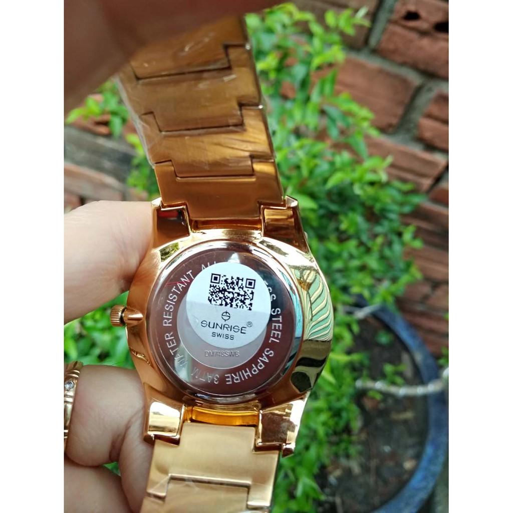 [Fullbox chính hãng] Đồng hồ nam siêu mỏng Sunrise DM748SWA chạy Full kim kính Sapphire chống xước