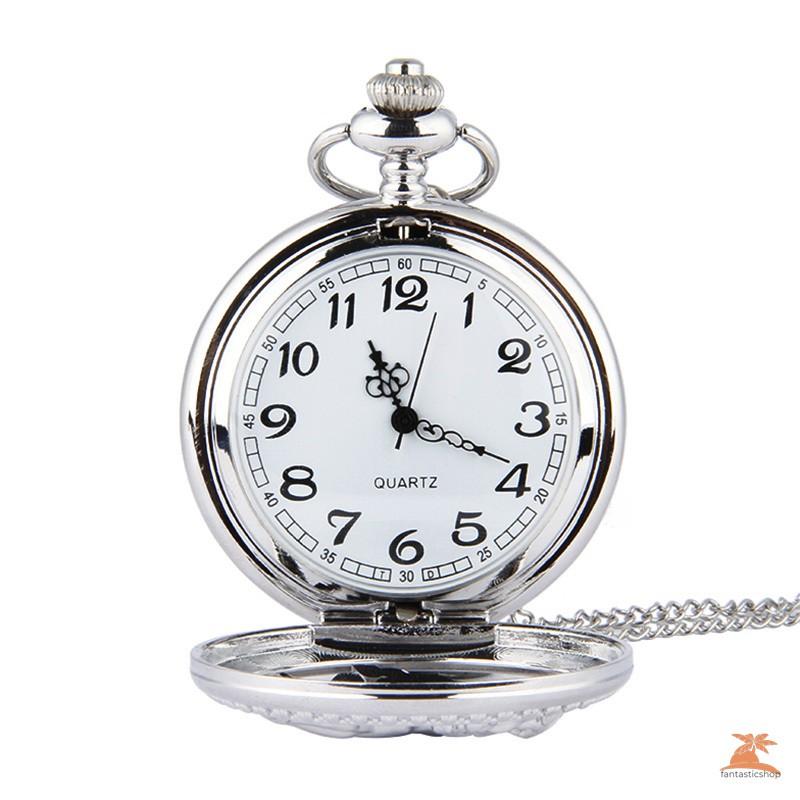 #Đồng hồ bỏ túi# Fashion Silver Horse Hollow Quartz Pocket Watch Chain Pendant Necklace for Women Men Gifts