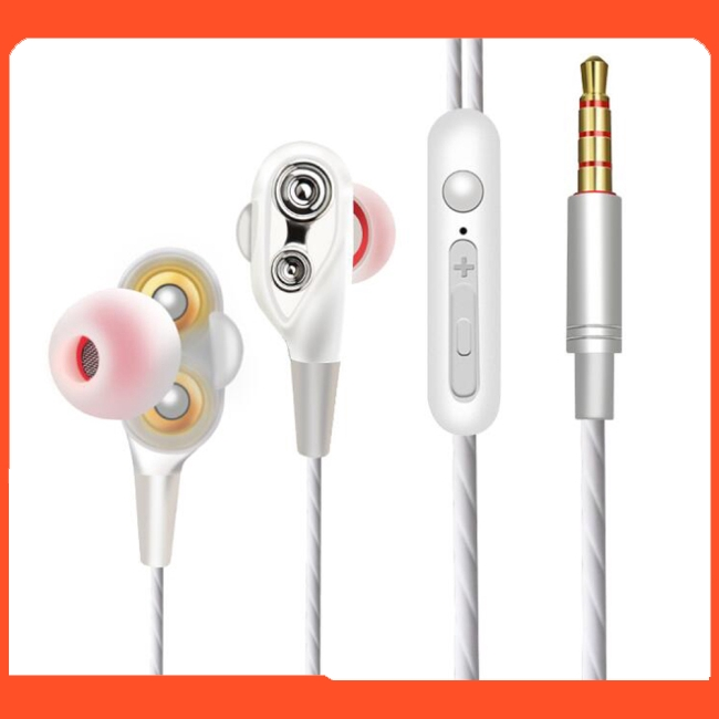 In-ear Headphones with Microphone Dual Driver High Resolution Heavy Bass Earbuds with Mic Volume Control
