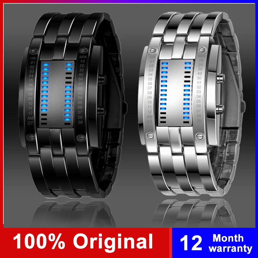 zhenghao007.vn - Stainless Steel Blue Binary Luminous LED Electronic Display Sport Watches