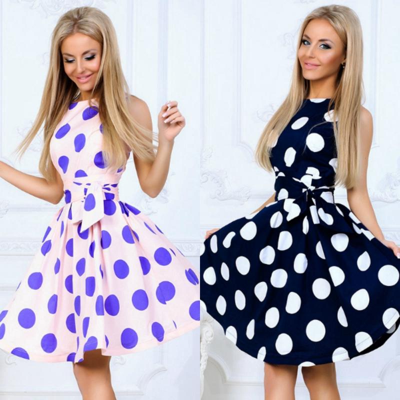 Women Round Neck Sleeveless Belt Dress Mini Fashion Slim Dress