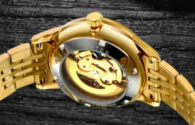 Đồng hồ Nam bosck cơ vàng nguyên khối dây thép đặc