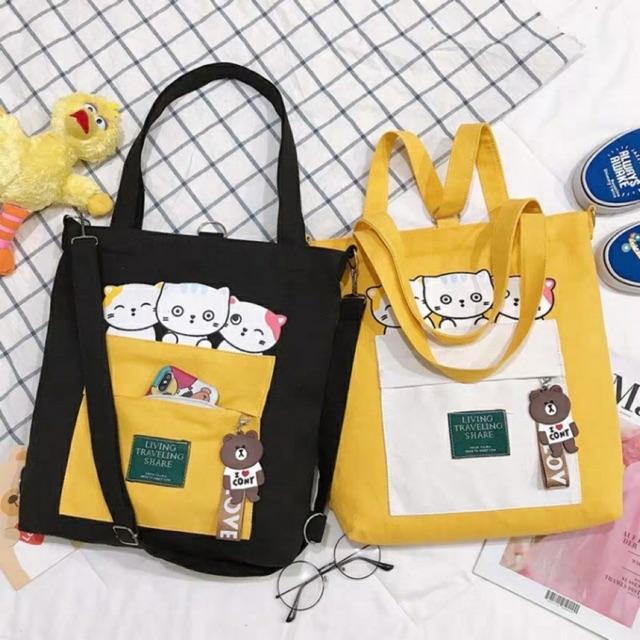 [TRỢ GIÁ] Túi ToTe đeo chéo đeo vai thời trang kiểu mới hình ba con mèo kute of KITI SHOP có khóa kéo vừa A4