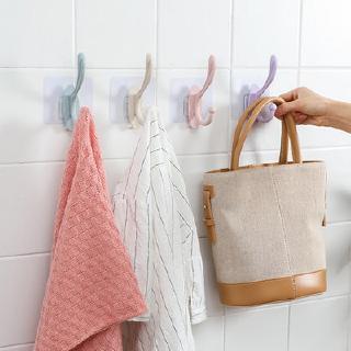 Giá Đỡ Móc Treo Đồ Dán Tường Bằng Nhựa Chống Thấm Nước Tiện Dụng Cho Nhà Tắm / Nhà Bếp