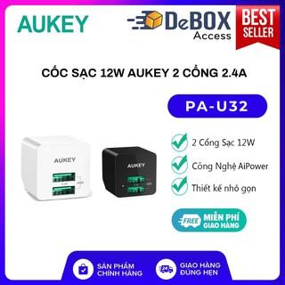 Cốc Sạc Aukey PA-U32 2 cổng 2.4A 12W Công Nghệ AiPower - BH 24 tháng Chính Hãng