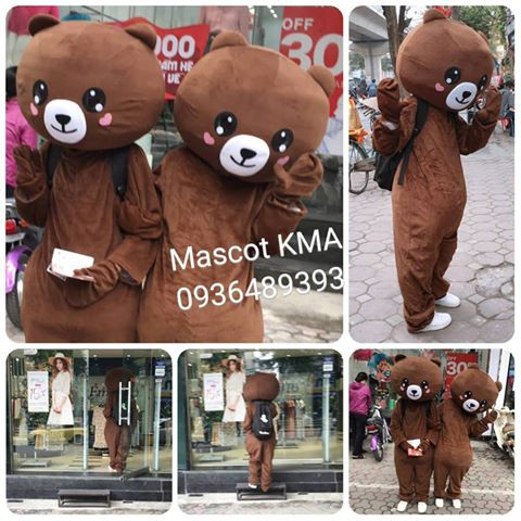 Mascot Gấu Brown đủ biểu cảm tự lắp ghép