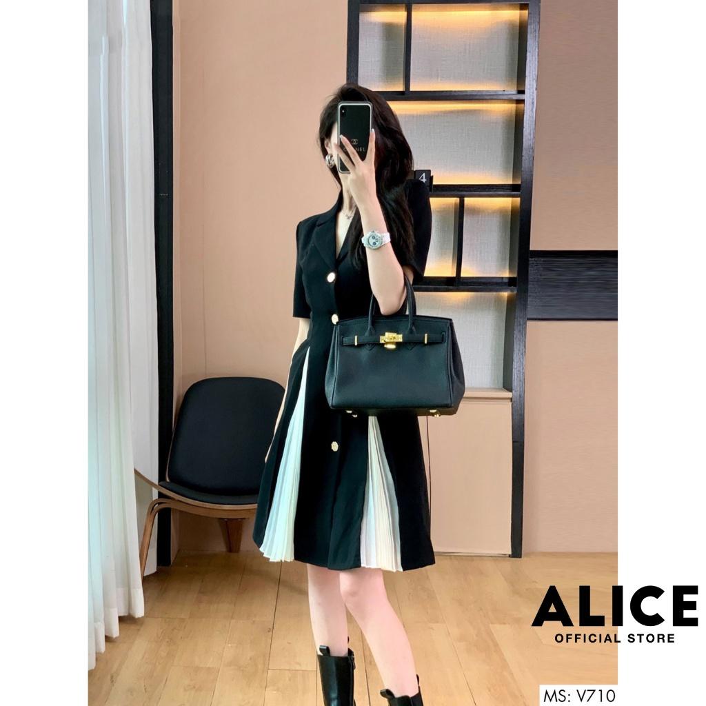Mặc gì đẹp: Sang trọng với Đầm Công Sở Cổ Vest Phối Dập Ly ALICE V710, Váy Đen Thiết Kế Tôn Dáng Sang Trọng