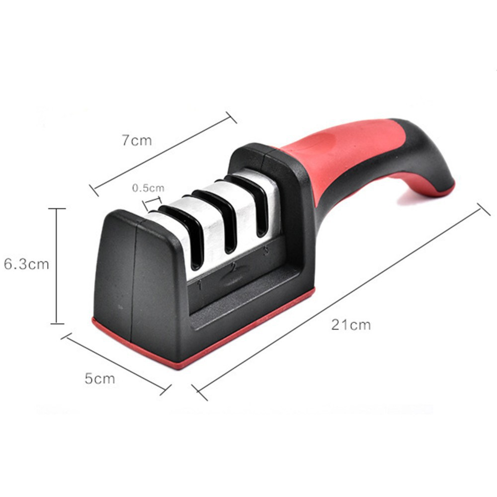 Dụng cụ mài dao kéo 3 rãnh, tiện dụng cho nhà bếp, sử dụng nhanh tiện lợi