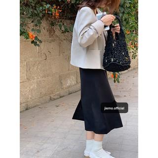 Chân Váy Lưng Cao Màu Đen Thời Trang Cho Nữ