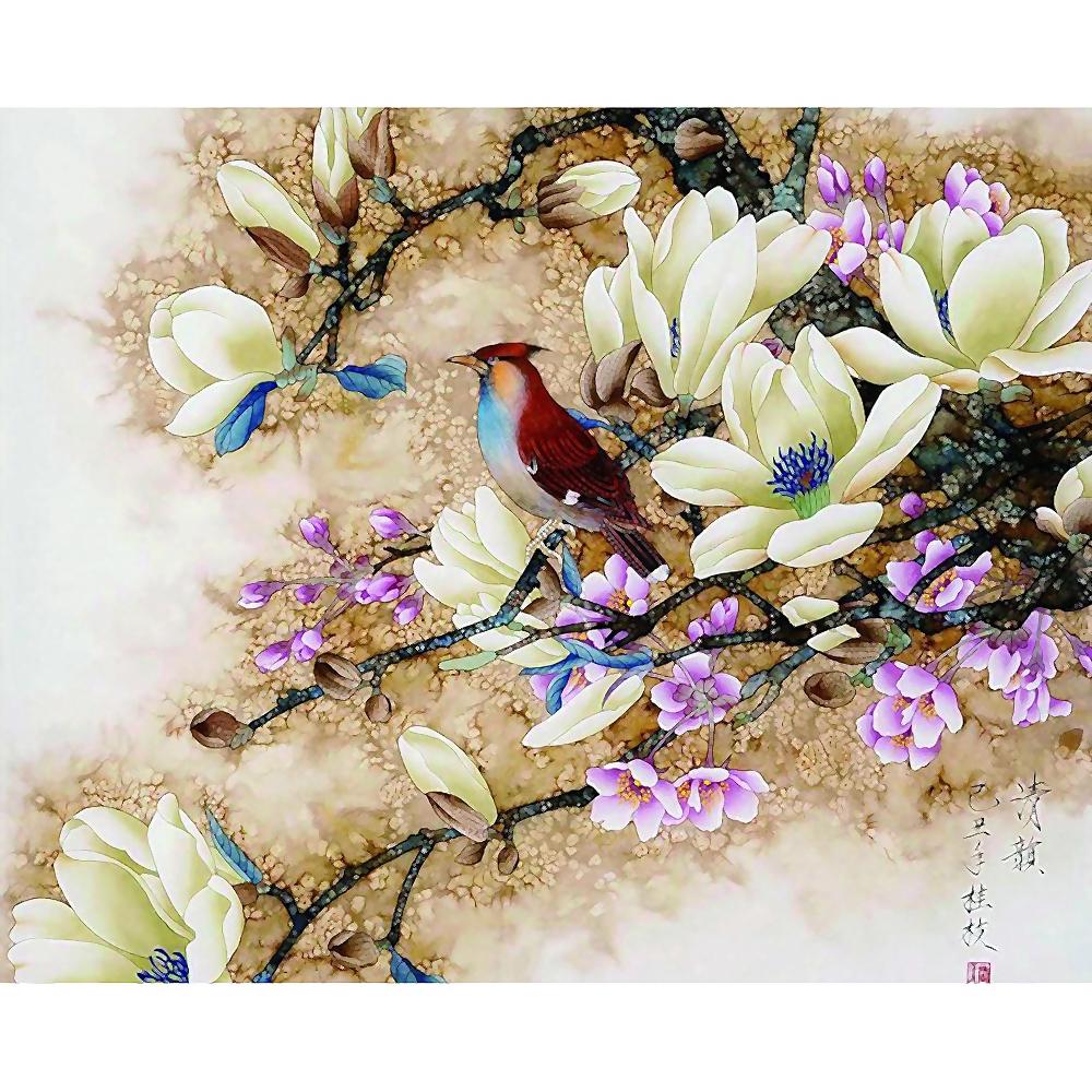 Tranh sơn dầu trang trí hình chim ( tự sơn )
