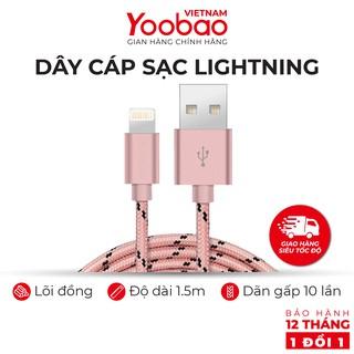 Dây cáp sạc Lightning YOOBAO YB-422 cho iPhone/iPad Vỏ bện nylon dài 1.5m - Hàng chính hãng Bảo hành 12 tháng 1 đổi 1