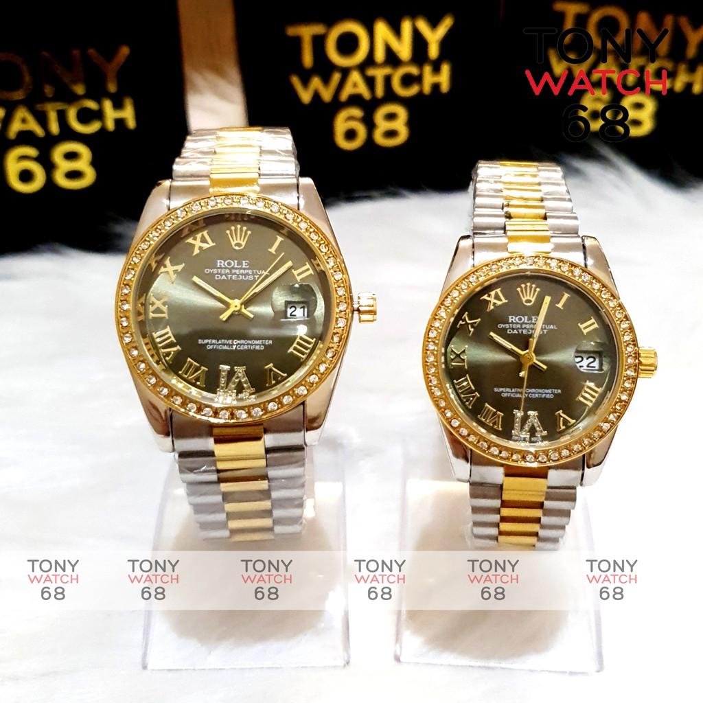 Đồng hồ cặp đôi nam nữ RL đeo tay dây thép đúc đặc 3 hàng viền đá chống nước