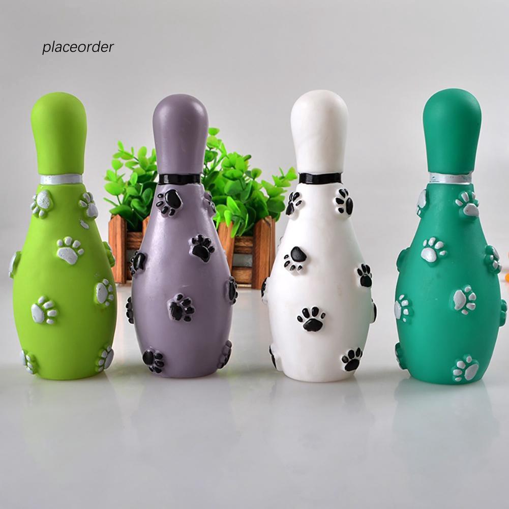 PEOD_Pet Cat Dog Footprint Bowling Ball Shape Sound Squeeze Training Playing Toy