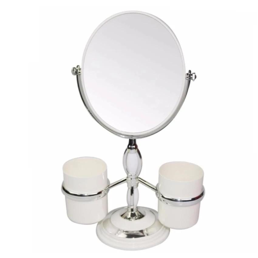 gương trang điểm để bàn xoay 360 độ kèm cốc (trắng) vrg1119