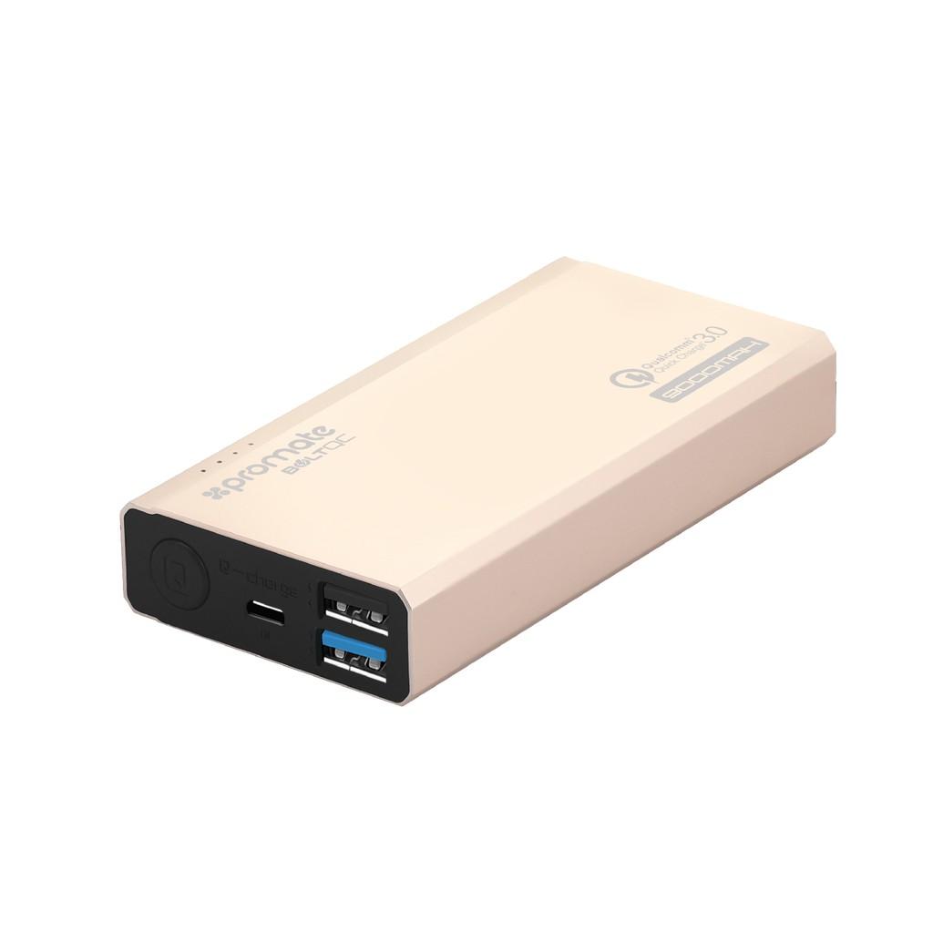 Pin sạc dự phòng Promate Bolt-QC QuickCharge 3.0 2 cổng sạc USB 9000mAh (Vàng)