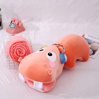 Spot creative hippo pillow quilt dual-use office back cushion cushion three-in-one air conditioning lunch break artifact nap blanket