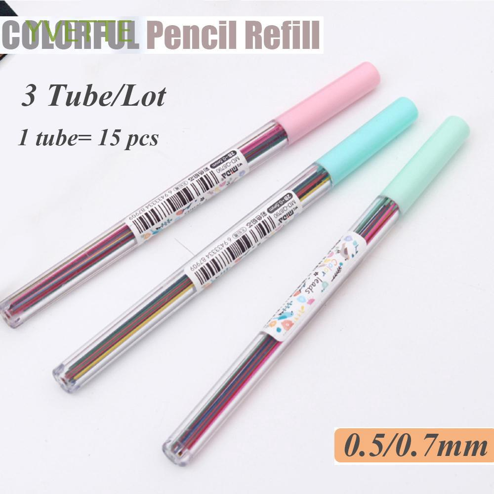 15Pcs/Tube 0.5/0.7 mm Erasable Stationery Colorful Smooth Writing Instrument Mechanical Pencil Lead