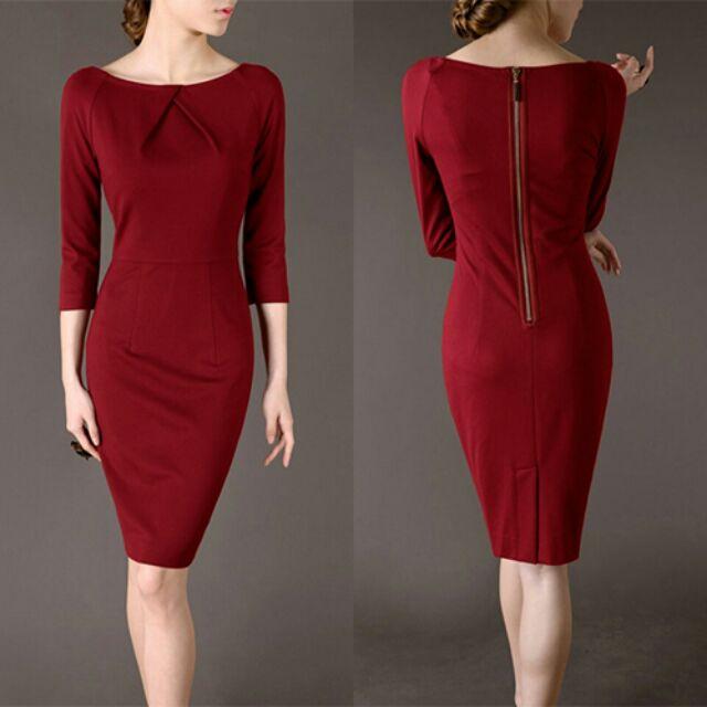 Đầm Body Tay Lỡ Xếp Ly Cổ_ 2885