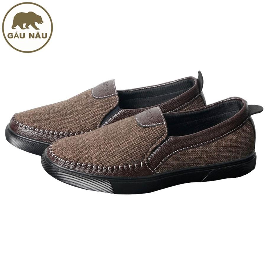 Giày lười vải nam thân nâu đế đen GN214 GấuNâu