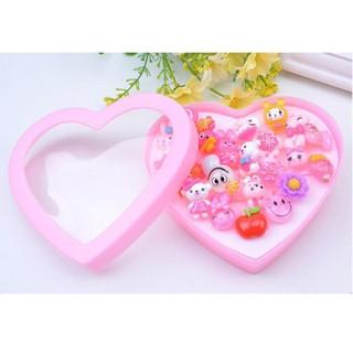 24Pcs Mixed KGirls' Pink Animal Flower Polymer Resin Cartoon Rings Heart-shape
