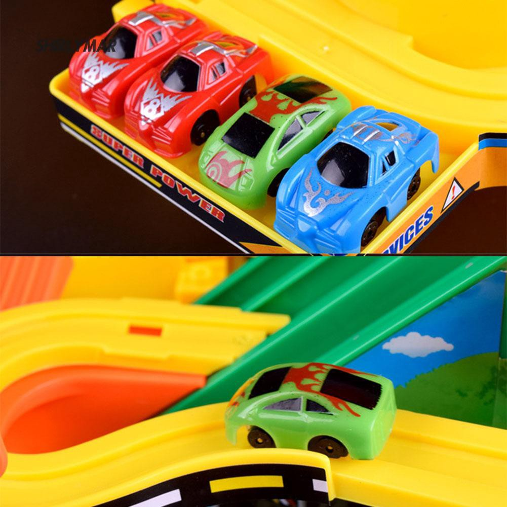 ஐSr Kid Electric Rail Car Race Track Parking Lot Kit Toys Mini Educational Games