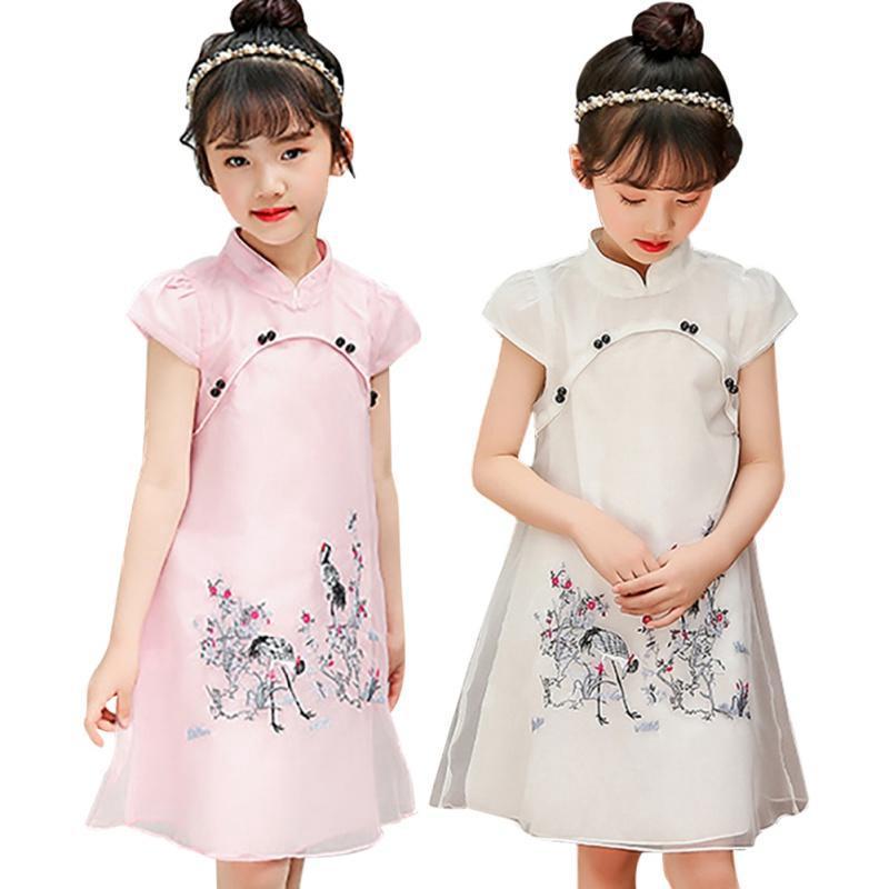 Đầm sườn xám cách tân họa tiết thêu phong cách Trung Hoa xinh xắn cho bé gái