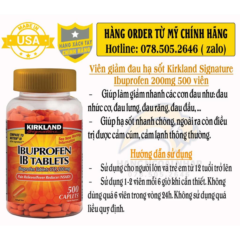 Kirkland Signature Ibuprofen 200mg 500vien - H.ạ S.ố.t & G.i.ả.m Đ.a.u.