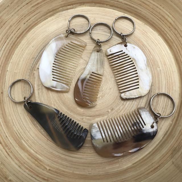 Móc treo chìa khóa bằng Sừng trâu - Hình chiếc lược mini
