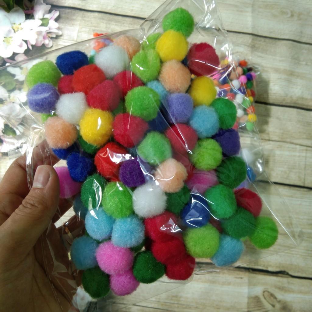 Tổng hợp các cỡ Pompom - Tặng kẹp gắp nhựa khi mua từ 3 size bất kỳ