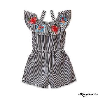 Set áo liền quần ngắn tay + Băng đô họa tiết hoa dễ thương cho bé gái