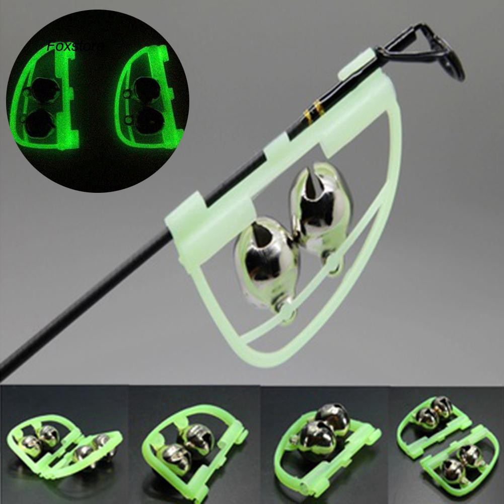 FXTE_2Pcs Outdoor Night Glow Twin Bell Rings Fishing Rod Clip Bite Lure Alarm Alert