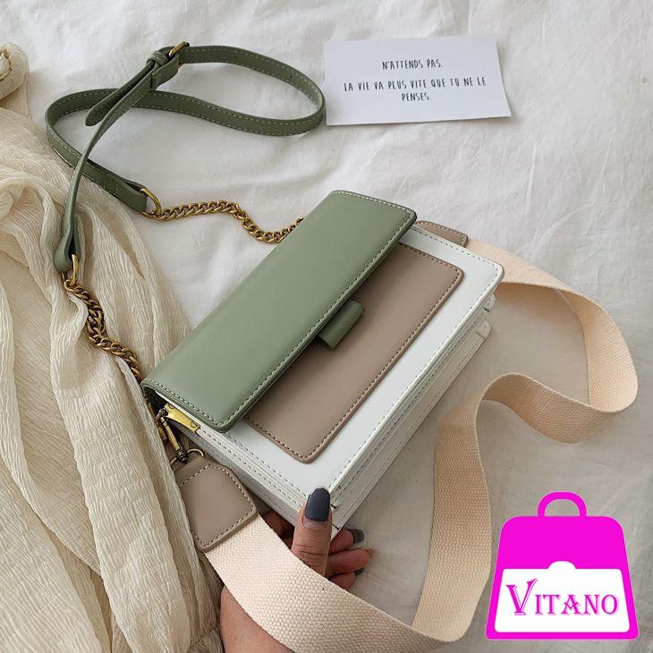 Túi xách nữ đeo chéo phối màu vintage Hàn Quốc TX06