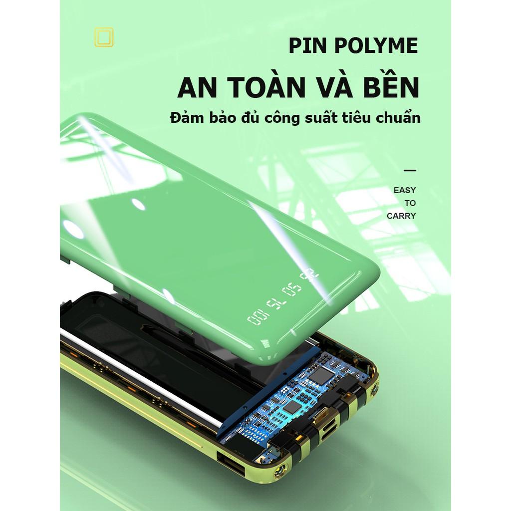 Pin sạc dự phòng 10000 mah, sạc dự phòng đa năng 5 trong 1 tích hợp sẵn dây sạc cho Iphone, Samsung và Typ-c