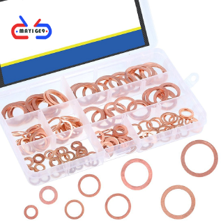 Professional Assorted Copper Washer Gasket Set Metric Flat Ring Copper Sealing Washers Assortment Set-8 Sizes Of M6 M8 M10 M12 M14 M16 M18 M20