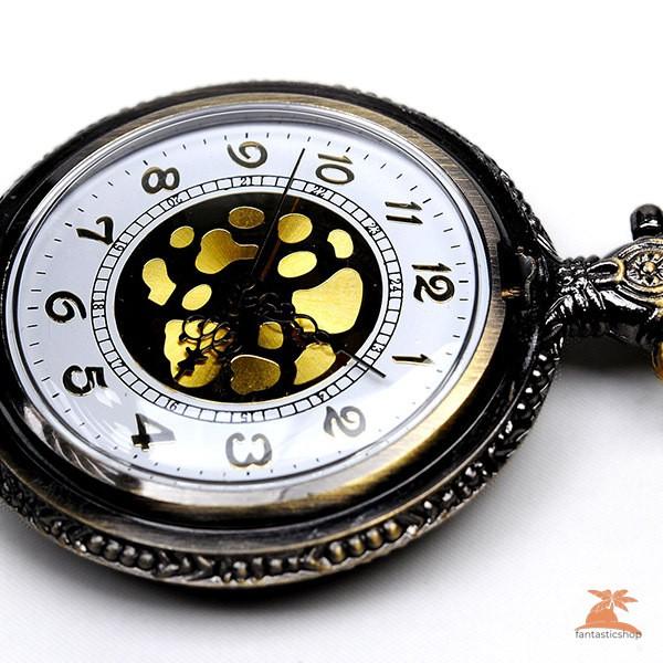 #Đồng hồ bỏ túi# New Antique Vintage Pocket Watch Bronze Spine Ribs Hollow Quartz Pendant Chain Necklace Gift