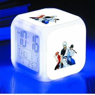 Đồng hồ báo thức để bàn in hình Gintama Linh hồn bạc anime chibi LED đổi màu