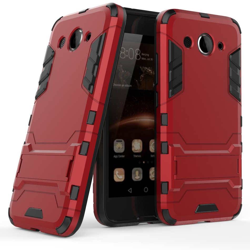 Ốp điện thoại nhựa TPU và PC chống sốc bảo vệ 2 lớp chống sốc có giá đỡ cho Huawei Y3 (2017)
