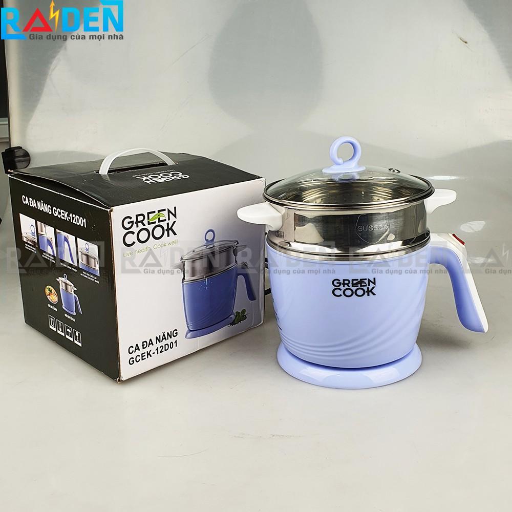 Ca điện đa năng Green Cook GCEK12D01 có thể nấu lẩu, hấp thức ăn, thích hợp cho văn phòng