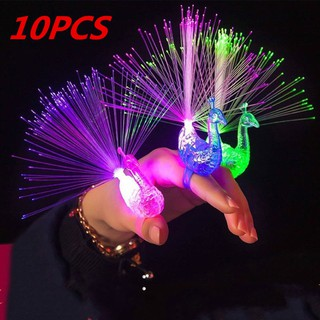 10Pcs Colorful LED Light-up Rings Peacock Finger Light Party Gadgets Kids Toy dn
