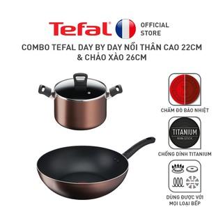 Combo Tefal Day By Day Nồi thân cao 22cm & Chảo xào