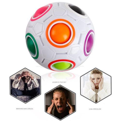 JQAIQ Creative Magic Cube Speed Rainbow Puzzles White Spherical Ball Shaped Twist Toy