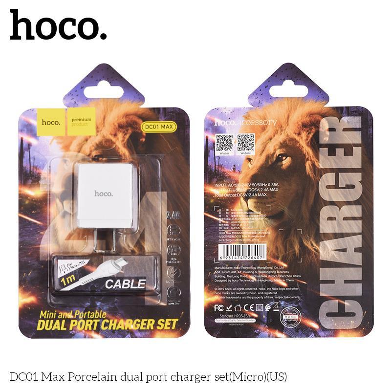Củ cáp sạc nhanh 2 cổng USB Hoco DC01 Max Micro mới - Dòng điện 12W max 2.4A