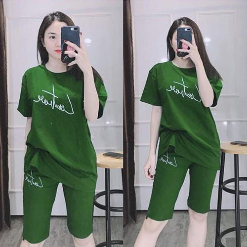 [Có size đến 85KG]Đồ bộ mặc nhà nữ đẹp quần đùi tay ngắn, áo rộng xẻ tà - Anquachi