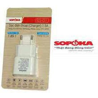 Củ sạc điện thoại Sopoka chân tròn dùng cho  Samsung, Iphone, HTC, Sony