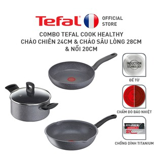 Bộ nồi chảo Tefal Cook Healthy 3pcs (Chảo 24 Chảo sâu 28 Nồi 20) thumbnail