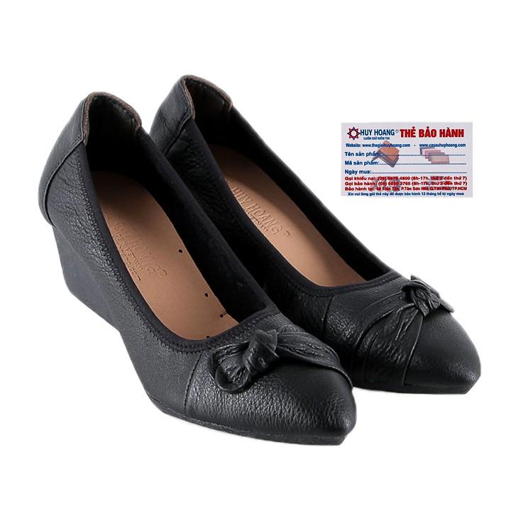 Giày nữ da bò 5 phân màu đen HP7942