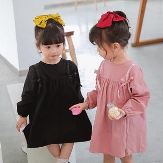 Đầm Dài Tay Thắt Nơ Xinh Xắn Cho Bé Gái 70-130cm