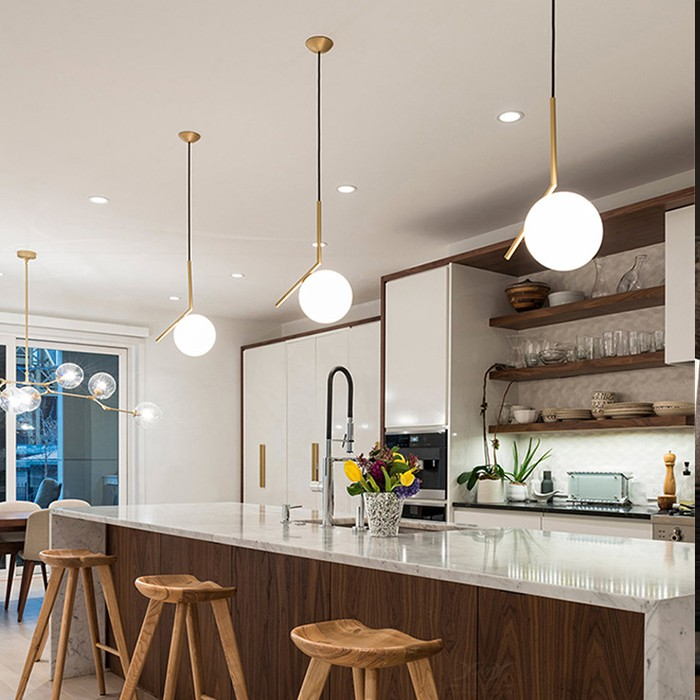 Combo đèn thả bàn ăn MONSKY trang trí nội thất cao cấp mạ Crom sang trọng MOONLAMP - đã bao gồm bóng LED chuyên dụng