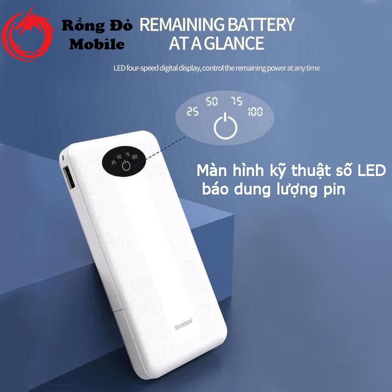 Sạc dự phòng SD DESIGN G01 dung lượng 10000 mAh có 3 cáp sạc lighting type-c micro có đèn pin bảo hành 12 tháng 1 đổi 1